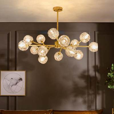 Nordic minimalist lamps and lanterns all copper light luxury living room dining room bedroom atmospheric crystal chandelier tree-shaped molecular lighting