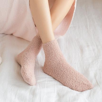 毛绒袜子女冬季珊瑚绒毛巾加厚保暖秋冬地板袜居家纯色可爱睡眠袜