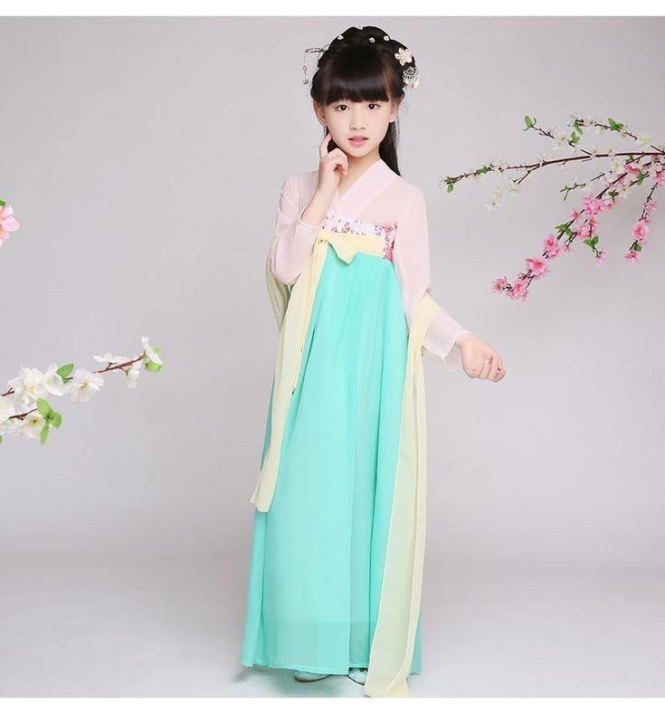 小女孩汉服仙女12-15岁夏季古装中国风女童复古学生长款襦裙齐胸