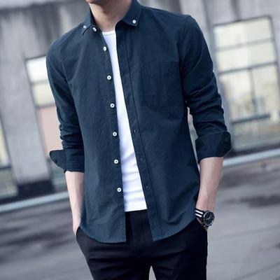课图衬衫男长袖新款韩版修身中青年男士衬衣秋季休闲潮流外套潮