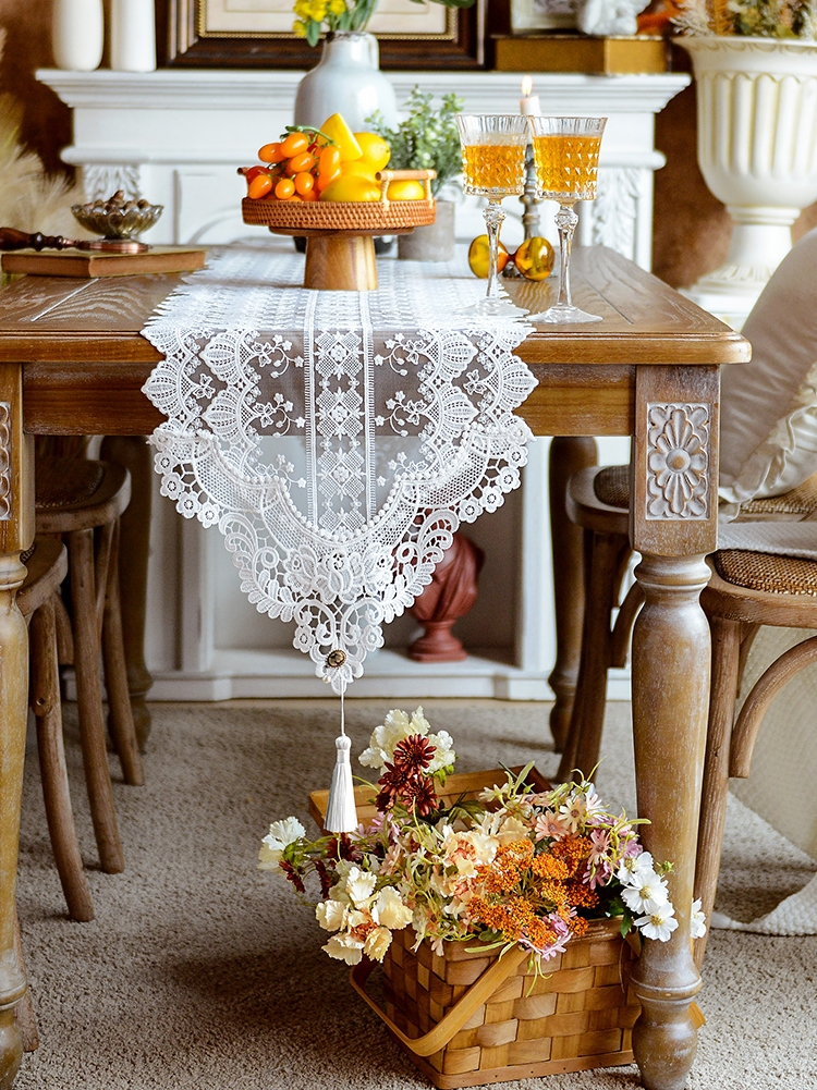 蕾丝桌旗美式餐桌旗长条桌布防尘鞋柜布盖巾欧式电视柜盖布茶几旗_图2