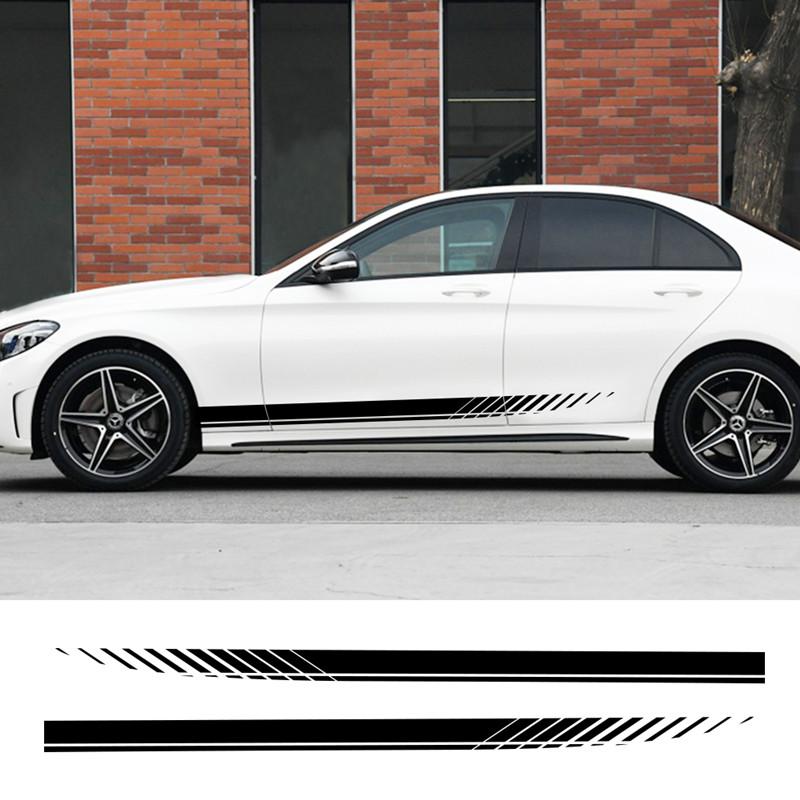 汽车侧裙拉花车贴个性运动改装贴纸通用车门长条划痕遮挡装饰贴画