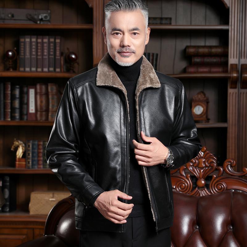 冬季新款中老年皮衣男加绒加厚爸爸装皮夹克中年男装仿真皮男外套