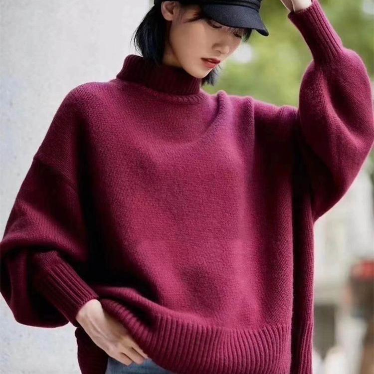 哥弟阿玛施女装秋冬新款百搭慵懒风高领羊绒衫针织衫套头毛衣详细照片