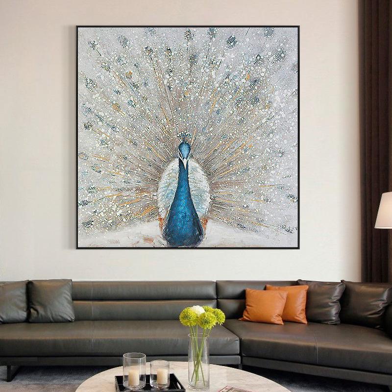 纯手绘油画现代餐厅装饰画客厅简约轻奢挂画抽象动物孔雀玄关壁画