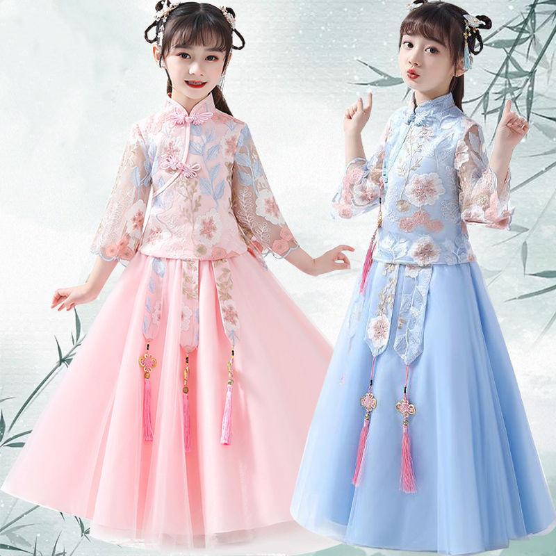 女童汉服女夏秋装女童古装裙子超仙中国风轻纱唐装童装樱花连衣裙