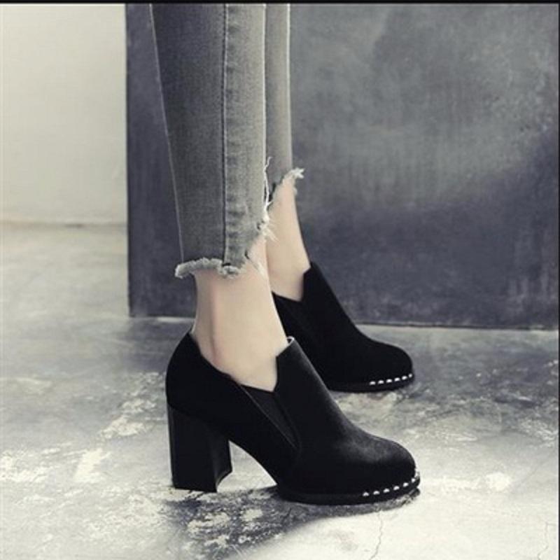 新款单鞋女高跟粗跟磨砂靴百搭