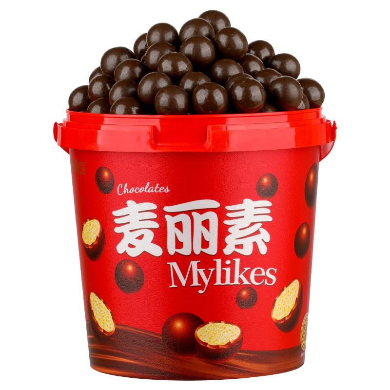 麦丽素桶装520g巧克力豆夹心脆儿童健康营养怀旧零食(代可可脂)