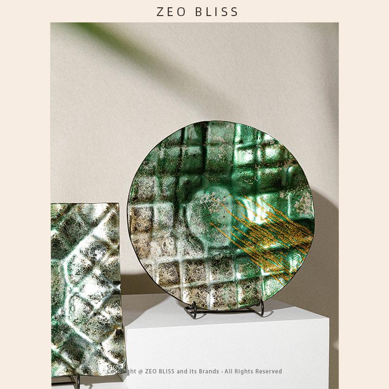 ZEO BLISS 北欧轻奢简约原创纯手工玻璃工艺品玄关摆件软装摆设品