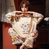 女士棉长袖休闲套装春秋季可外穿睡衣 券后39.9元包邮