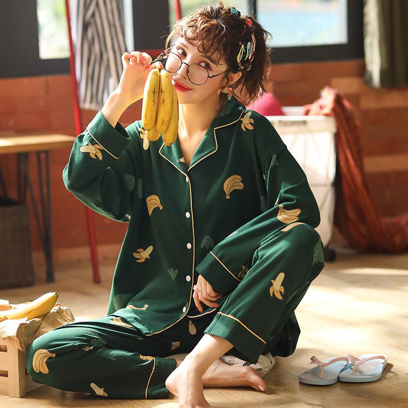 睡衣女春秋纯棉甜美开衫套装韩版女士长袖翻领款可外穿宽松家居服