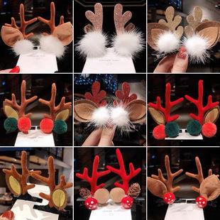 新年頭飾聖誕節鹿角髮夾毛毛小卡子