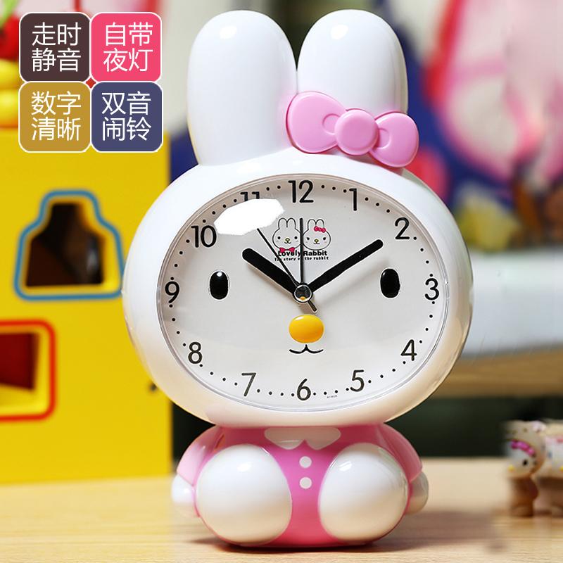 创意个性可爱卡通音乐闹钟学生儿童起床电池闹钟静音夜光贪睡时钟