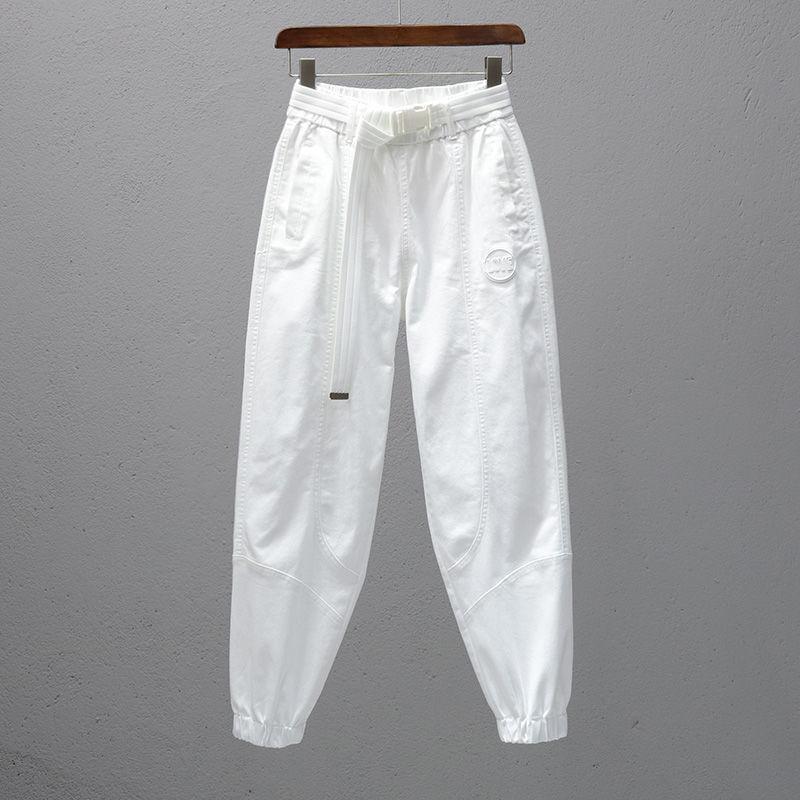 白色裤子女松紧腰宽松休闲裤潮流束脚显瘦萝