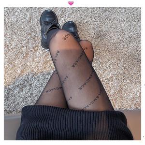 B字母丝袜超薄防勾丝连裤袜黑色肉色春夏季薄款网红女黑丝