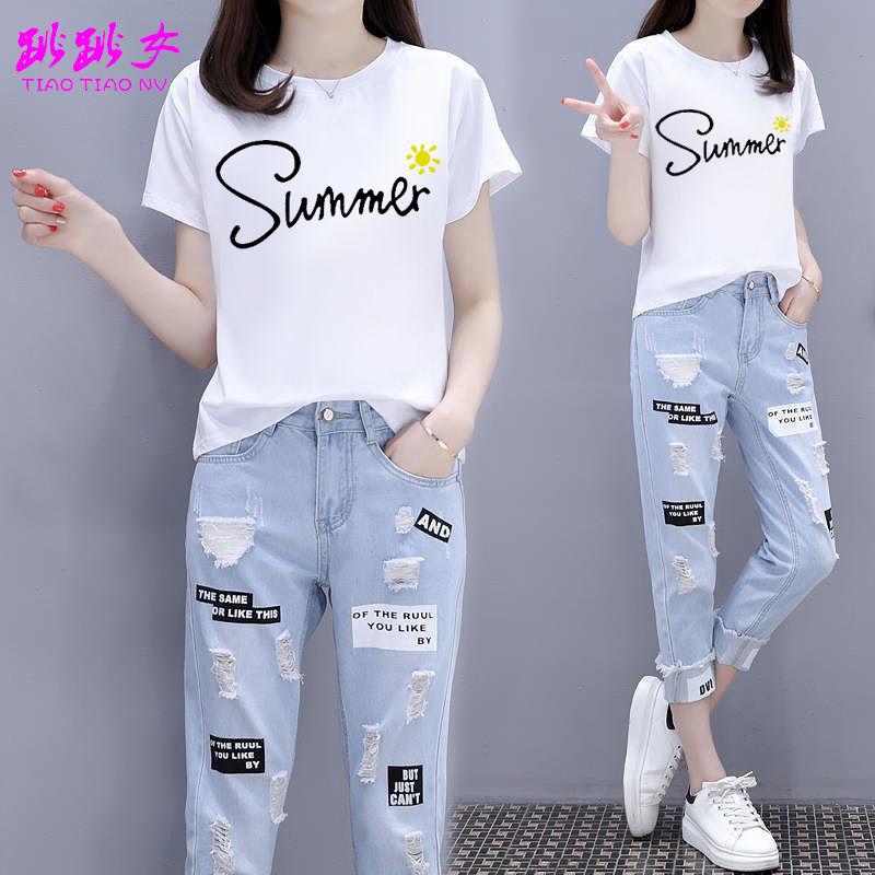 2021夏装短袖T恤破洞九分牛仔裤两件套