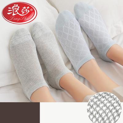 浪莎袜子女薄款短春夏季女士纯棉浅口透气防臭夏天超薄网眼短袜子