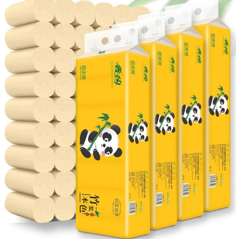 竹浆本色卫生纸卷纸家用家庭装卷筒纸车纸