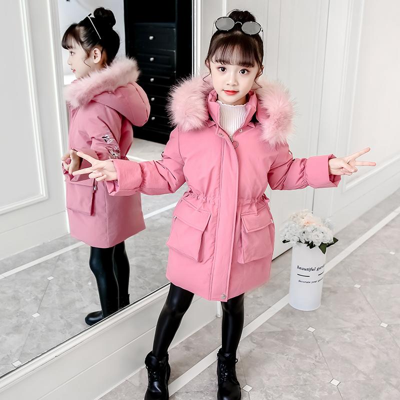 女童棉服2020年冬季新款加厚洋气韩版中大儿童羽绒棉衣中长款棉袄