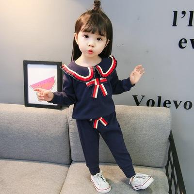 童装女童春装小童宝宝长袖两件套装2019新款小女孩春秋季洋气衣服