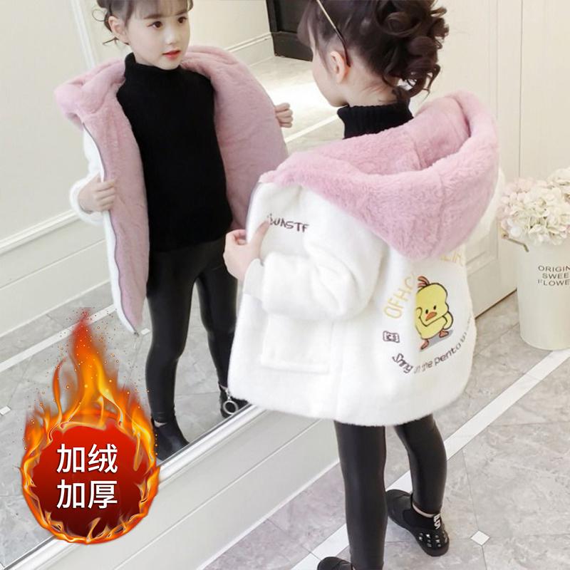 2020冬季新款女童外套加绒加厚童装韩版潮流中大儿童呢子大衣可爱