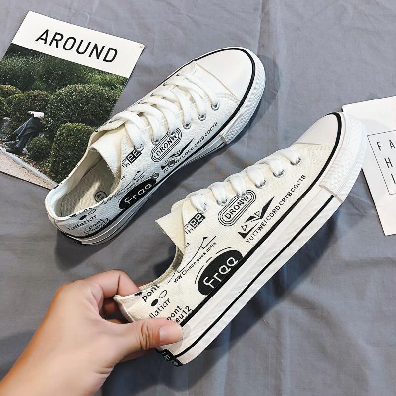 男鞋低帮帆布鞋2021夏季爆款潮流街头涂鸦板鞋男士休闲百搭硫化鞋