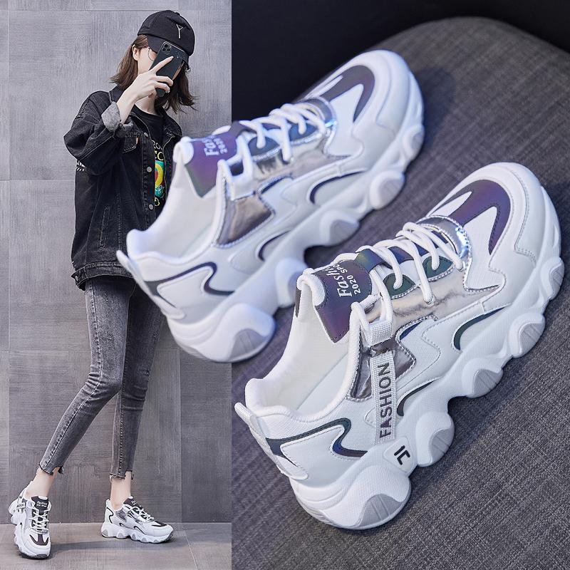 2021春季新款韩版百搭老爹鞋女ins原宿夜光运动鞋女增高跑步鞋