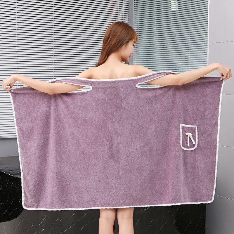 批发加大码80-180斤可穿浴巾女吊带浴袍浴裙加厚成人比纯棉吸水
