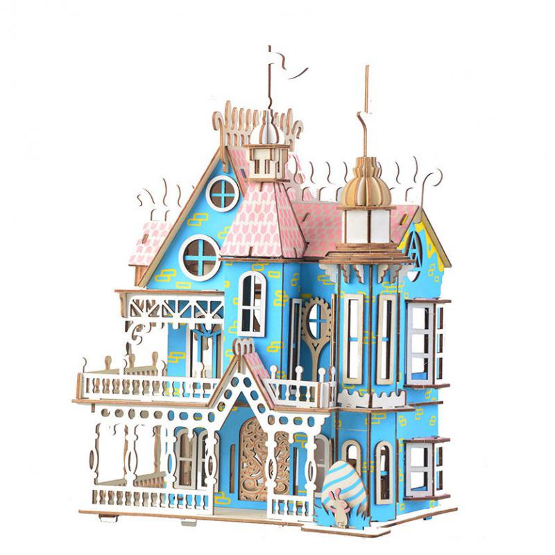 木质3d立体拼图成人儿童高难度手工拼装建筑模型房子益智玩具