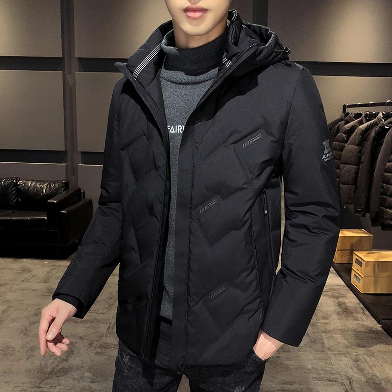 2021冬季男士羽绒服男加厚保暖短款连帽羽绒服男装外套白鸭绒
