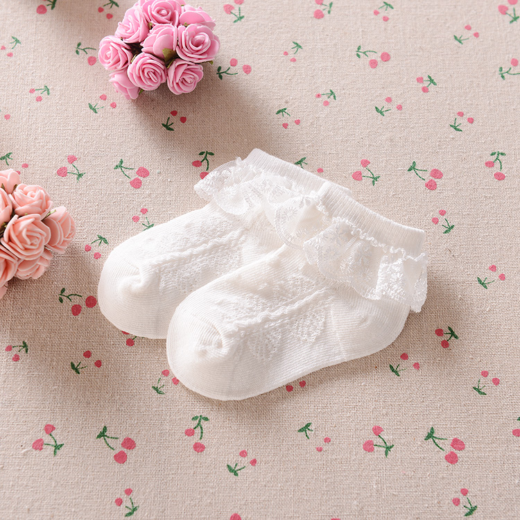 (4 Pairs) Milky White Lace Lace Socks