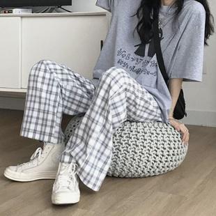 格子裤百搭韩版阔腿学生九分裤潮宽松