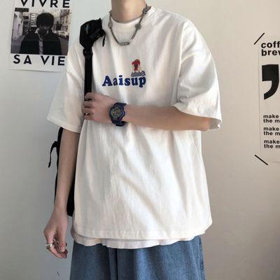 【100%纯棉】短袖t恤男宽松潮流原宿风ins半袖潮牌情侣装港风衣服