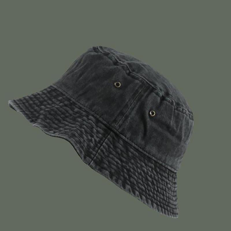 港风复古水洗牛仔渔夫帽情侣时尚做旧短沿盆