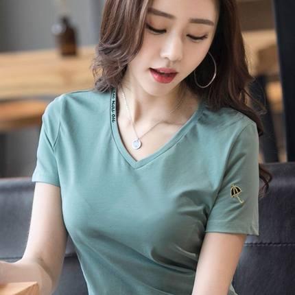 多图多色V领短袖T恤女2021夏装韩版百券后29元(领100元券)