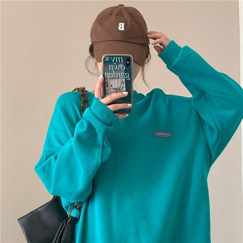 湖圆领学生卫衣女春秋薄款2021新款bf慵懒风套头蓝色宽松韩版上衣