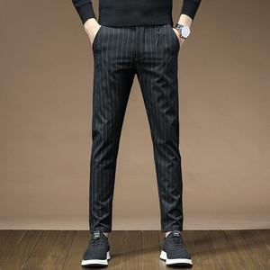 条纹网红休闲裤男春季长裤子直筒修身男裤中青年松紧腰宽松