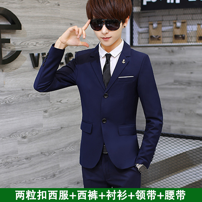 [USD 122.78] Men's Suits Youth Korean Slim Small Suit
