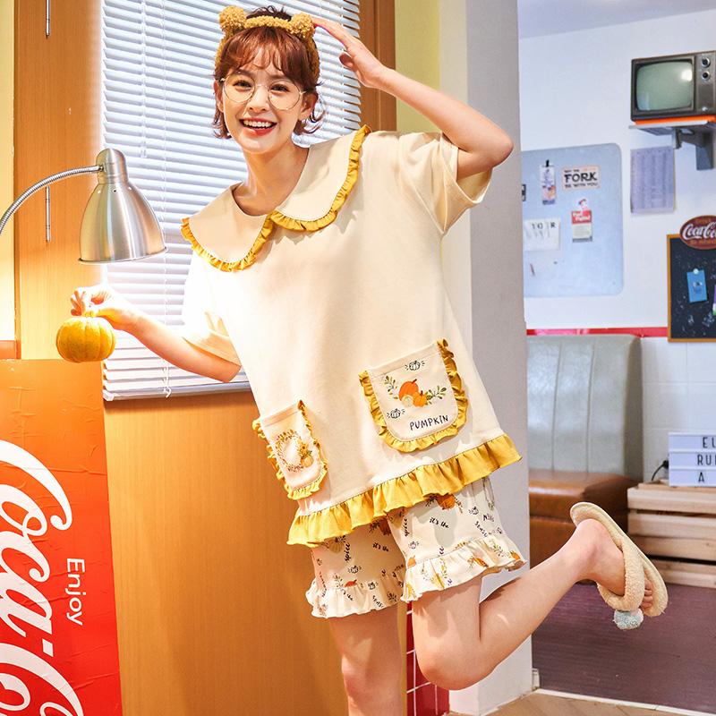 2021年新款女睡衣可爱公主家居服纯棉短袖短裤居家服夏可外穿套装