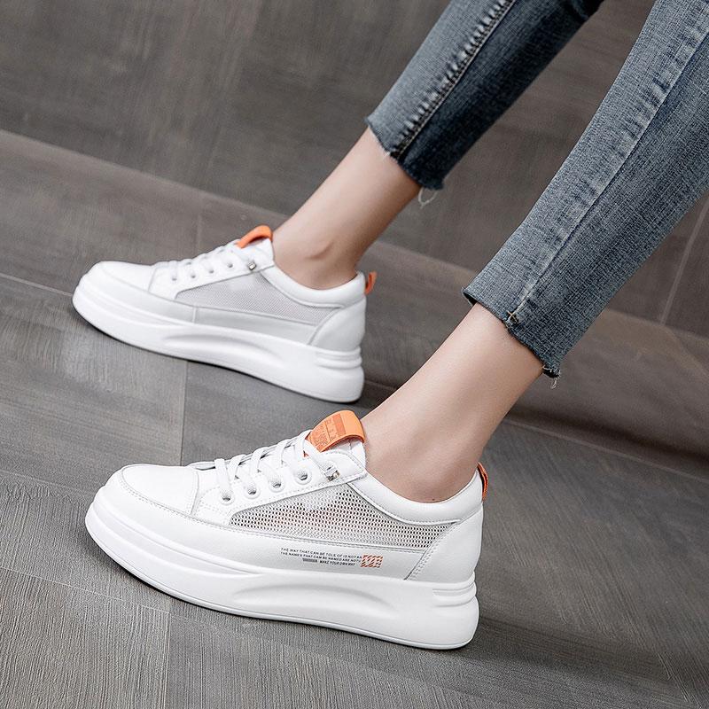 日系小白鞋女夏季薄款2021年新款网面透气浅口内增高真皮爆款百搭(日系小白鞋女夏季薄款2021年新款网面)