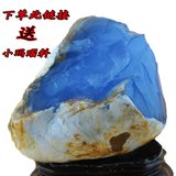 High-end boutique jade jade blue jade marrow original stone sapphire carving ornaments hand pieces ornamental wool Turkey