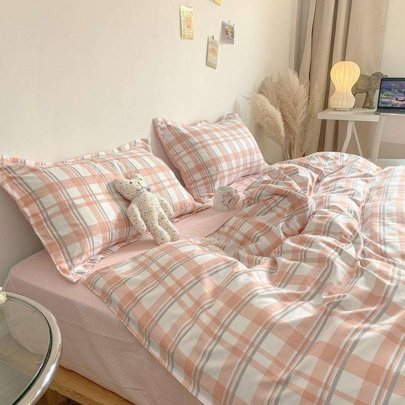中國代購|中國批發-ibuy99|简约四件套水洗棉被套格子床单学生三件套北欧风ins网红床上用品4