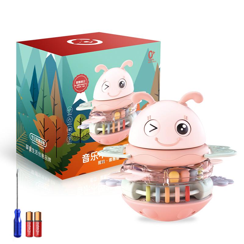 可咬不倒翁叠叠乐婴儿电动玩具0-3儿童牙胶音乐益智安抚早教摇铃