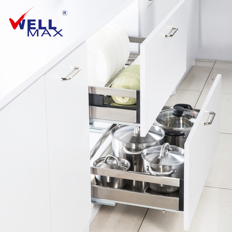 wellmax kitchen pull basket stainless steel cabinet pull basket drawer double bowl tray damping track