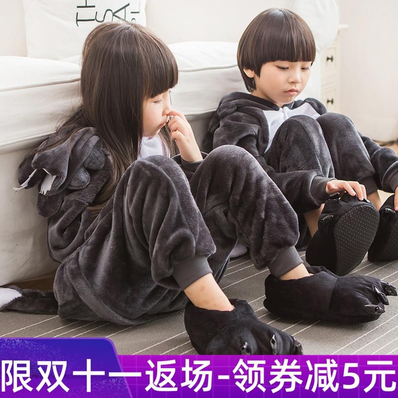 秋冬季儿童连体睡衣卡通动物长袖加厚男女法兰绒大灰狼家居演出服