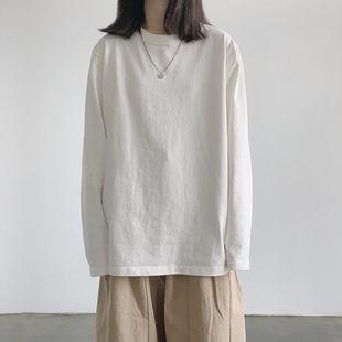 纯棉长袖T恤女韩版宽松纯色打底衫上衣ins潮