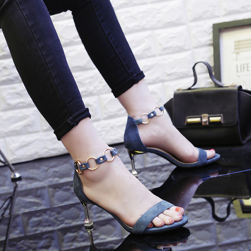 d70318fd6 Metal word buckle sandals women with fine with sexy girls high heels Korean  version of the wild 2019 summer new tide