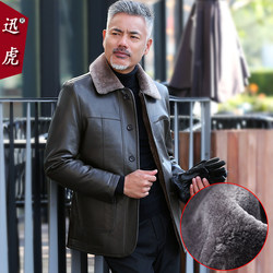 Dad winter jacket plus velvet thickening middle-aged 2020 new leather jacket middle-aged and elderly men's fur all-in-one leather jacket