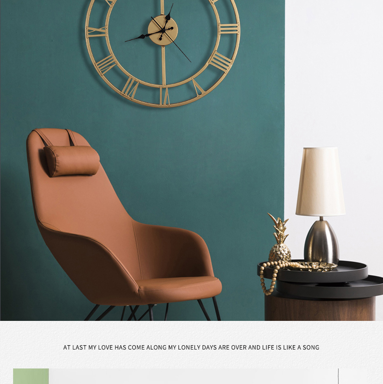 北欧挂钟客厅轻奢大气创意个性时钟表挂墙壁免打孔超静音家用钟饰详细照片