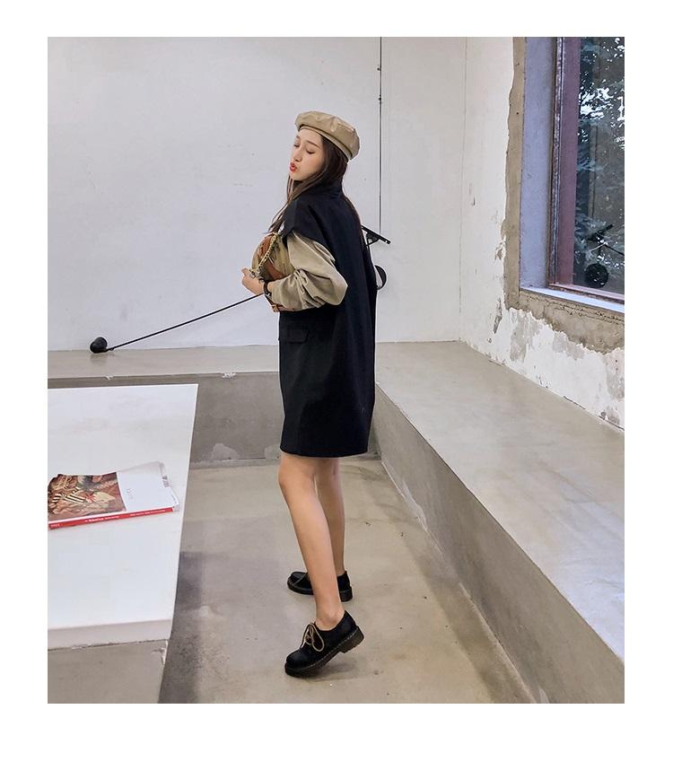 学院英伦风小皮鞋平底女单鞋粗跟繫带復古春季新款厚底牛津鞋详细照片